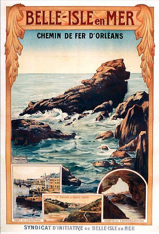 Affiche vintage du caniche à Belle-île-en-mer