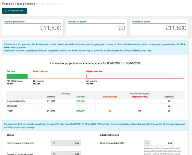 InniAccounts pricing, the personal tax planner screenshot