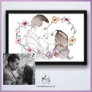 Ilustração manual de casal