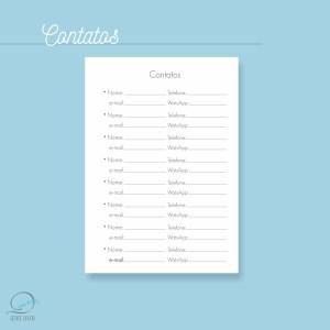 Mini agenda A6 2020 para impressão - contatos