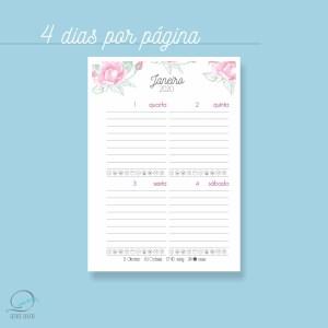Mini agenda A6 2020 para impressão - 4 dias por página