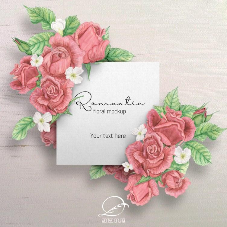 mockup romantico cartão branco com rosas 2