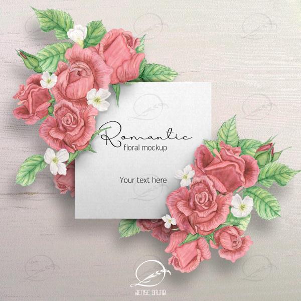 mockup romantico cartão branco com rosas
