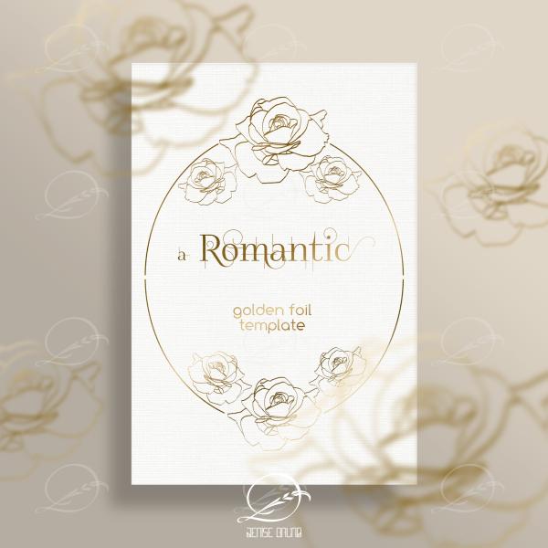 Mockup rosas douradas em foil e papel branco