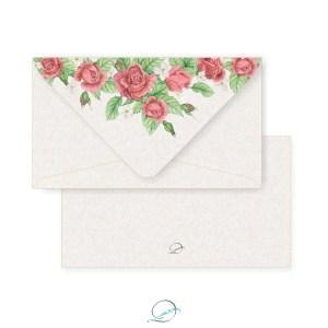 kit presente papelaria 1 - apresentação - envelope padrão estampa floral rosas