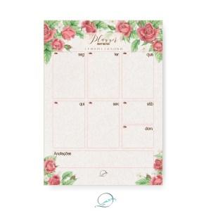 kit presente papelaria 1 - apresentação - planner semanal padrão estampa floral rosas