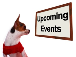 Upcoming Events Sign Showing Future Occasions Schedule For Dogs Site