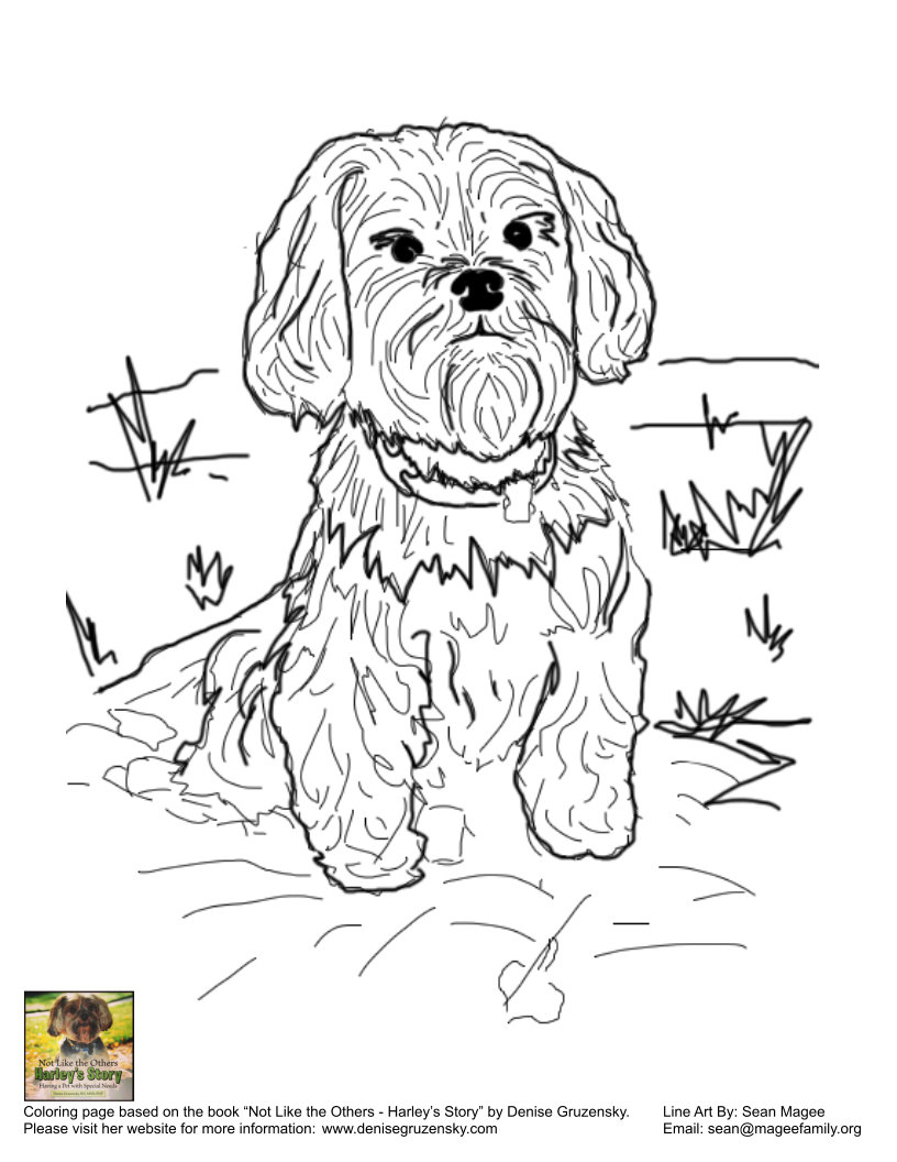 free coloring pages from harley u0027s story denise u0027s dog
