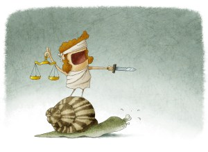 Lady justice on top of a snail