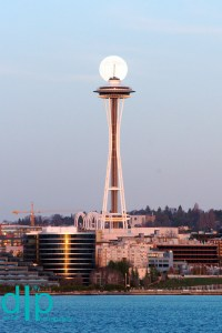 Space Needle Piercing Moon, Seattle