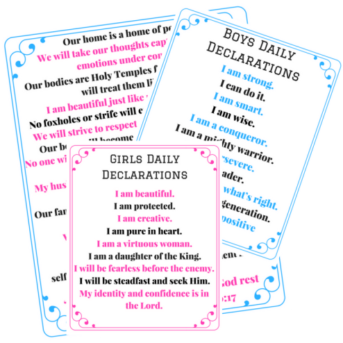 FREE Printables- declarations for the mom and children!
