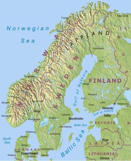Physical map of Scandinavian countries. Denmark, Sweeden, Norway.