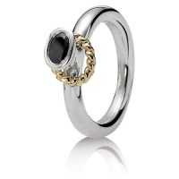 Retired Pandora Halo Ring with Black CZ :: Ring Stories