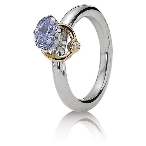 Retired Pandora Orbit Ring with Lavender CZ :: Ring