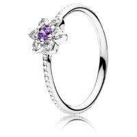 PANDORA Forget Me Not Flower Ring with Purple Zirconia