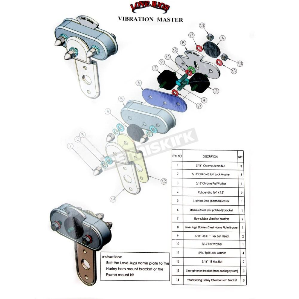 medium resolution of love jugs polished stainless vibration master mounting kit vm harley davidson motorcycle dennis kirk
