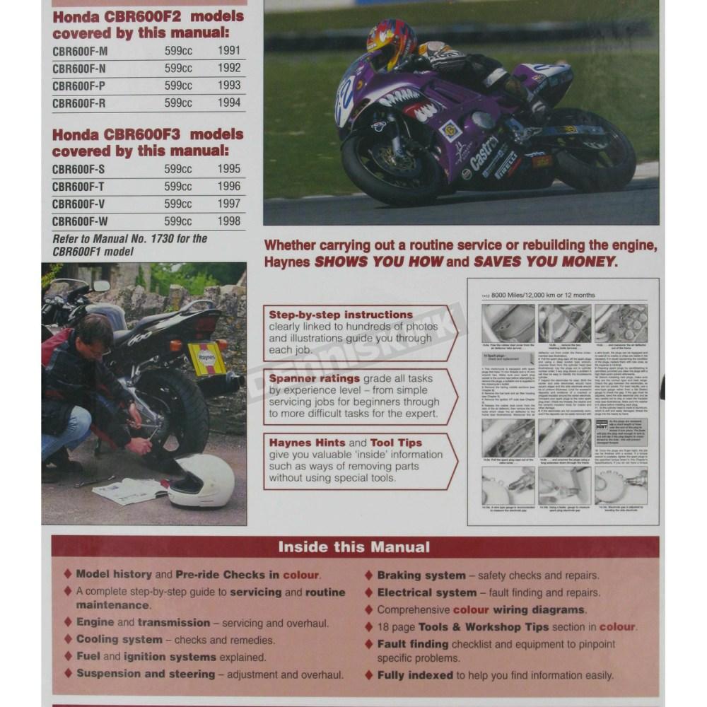medium resolution of  honda haynes honda cbr600f2 cbr600f3 repair manual 2070 sport bike on honda 96 cbr 600 wire