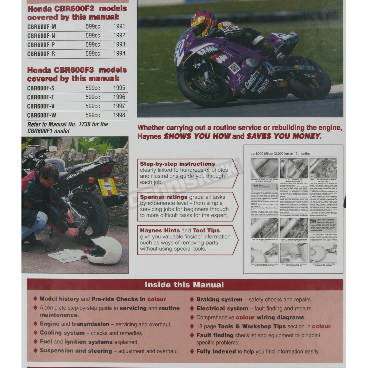 hight resolution of  honda haynes honda cbr600f2 cbr600f3 repair manual 2070 sport bike on honda 96 cbr 600 wire
