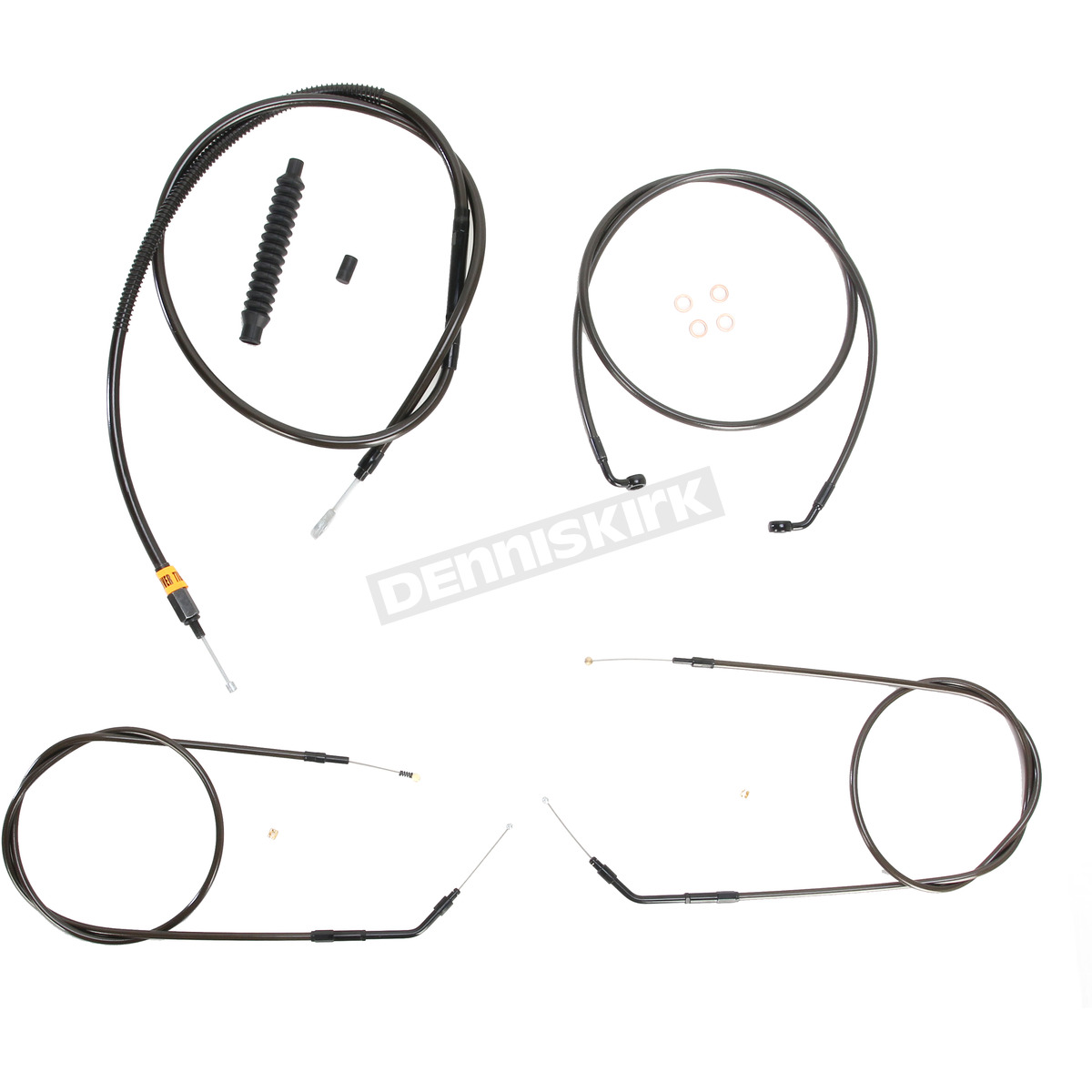 La Choppers Midnight Stainless Handlebar Cable And Brake Line Kit For Use W 12 In To 14 In Ape