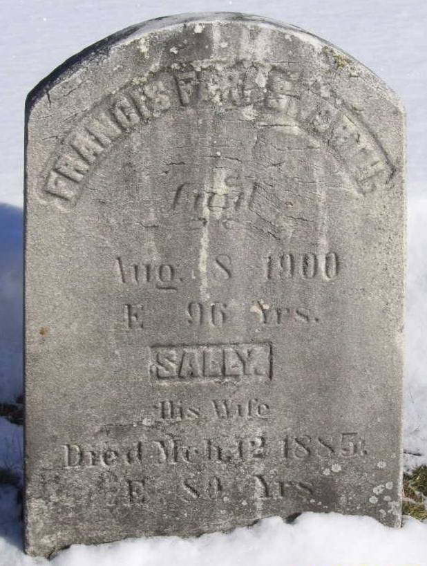 Headstone for Francis and Sally Farnsworth. Interred at the Hope Cemetery in Waterbury, Caledonia, Vermont.