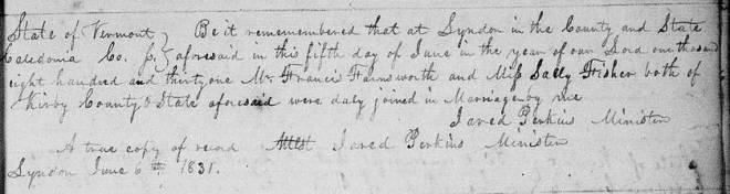 Francis Farnsworth and Sally Fisher Marriage Record 1831