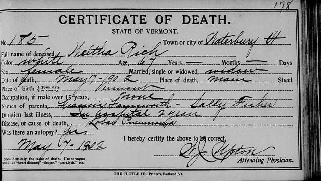 1902 Certificate of Death for Wealthy Rich