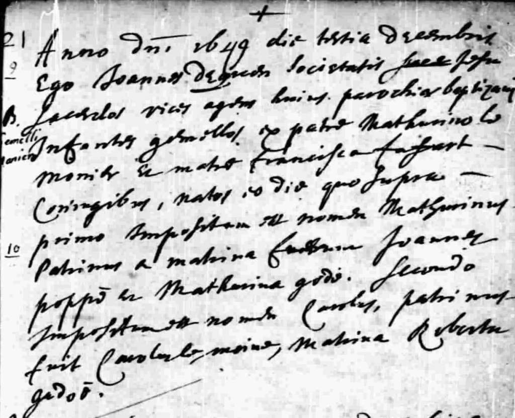 Baptismal record for both Charles and Mathurin Lemonnier 3 Dec 1649