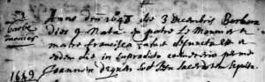 Burial record for Barbe Lemonnier, 3 Dec 1648
