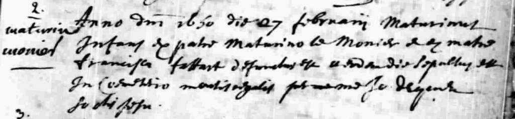 Burial of Mathurin Lemonnier 27 Feb 1650 in Notre-Dame-de-Quebec