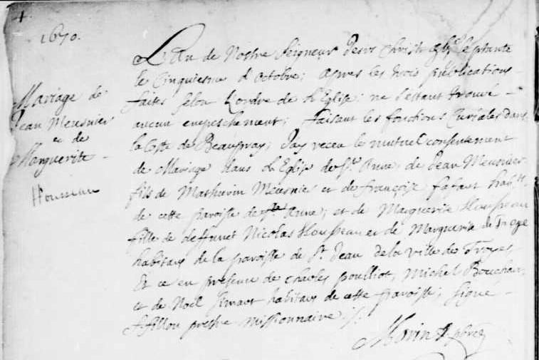 Marriage record of Jean Meusnier and Marguerite Housseau 5 Oct 1670 in Ste-Anne-de-Beaupré