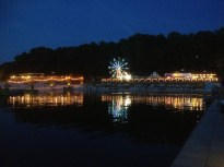 Night along the boardwalk at Lake Lanier Islands Resort