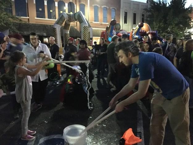 Micheal making bubbles