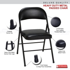 Folding Chair Quality Rocker Swivel Faux Leather Padded Metal Strong Frame Office