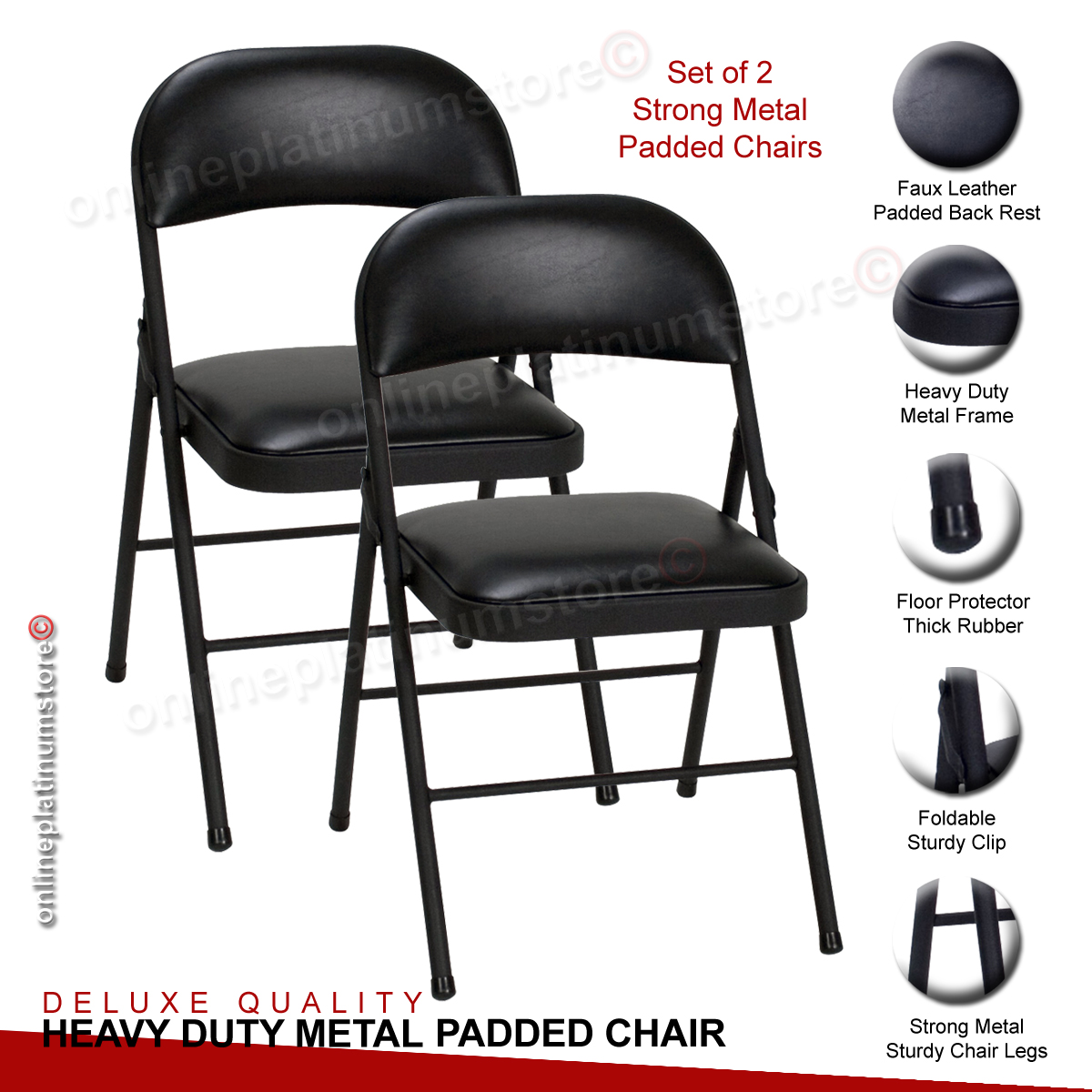 collapsible computer chair office buy online set of two strong metal frame faux leather padded folding