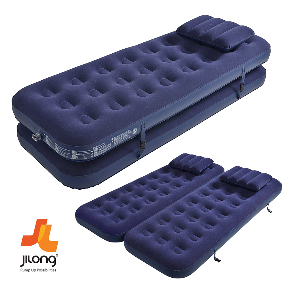 JILONG SINGLE  DOUBLE INFLATABLE FLOCKED AIR BED CAMPING MATTRESS WITH AIR PUMP