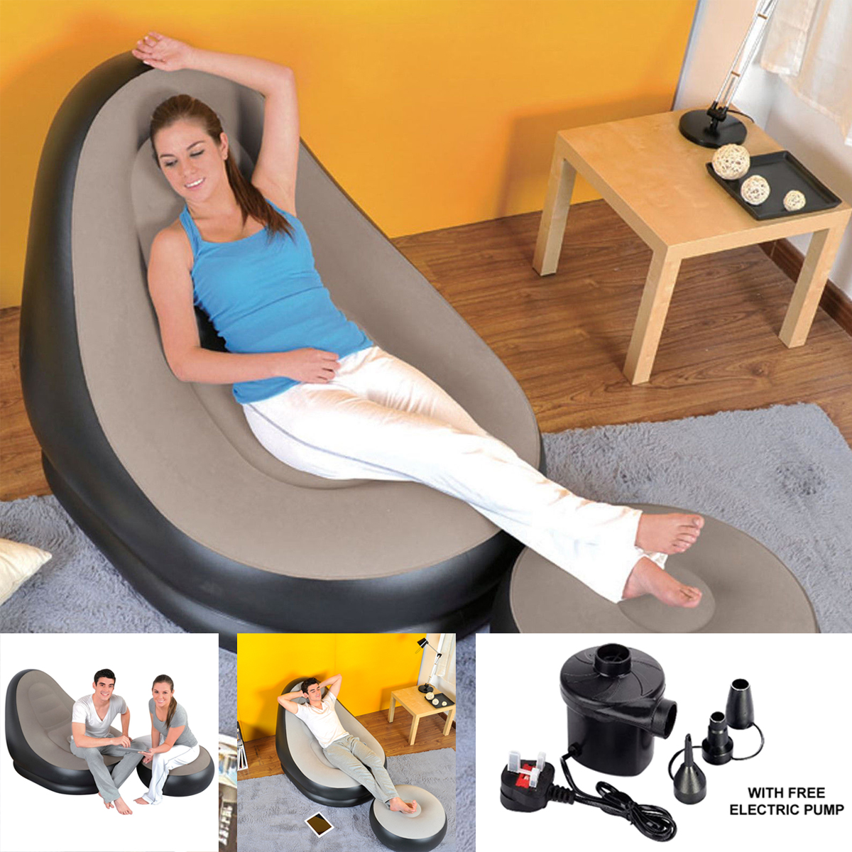 inflatable chair stool farmhouse table with bench and chairs deluxe lounge lounger ottoman foot seat