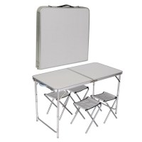 4 CHAIR TABLE SET KITCHEN DINING OUTDOOR PICNIC CAMPING ...