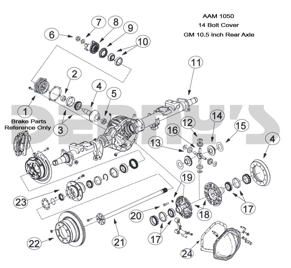 AAM 10.5 inch 14 bolt rear end axle parts for American