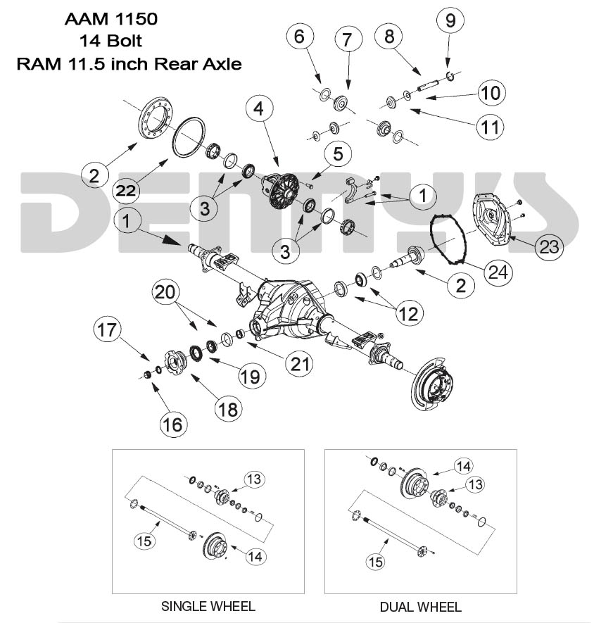dodge truck parts diagram remote starter wiring diagrams aam 11 5 inch 14 bolt rear end axle for american 2003 and newer ram