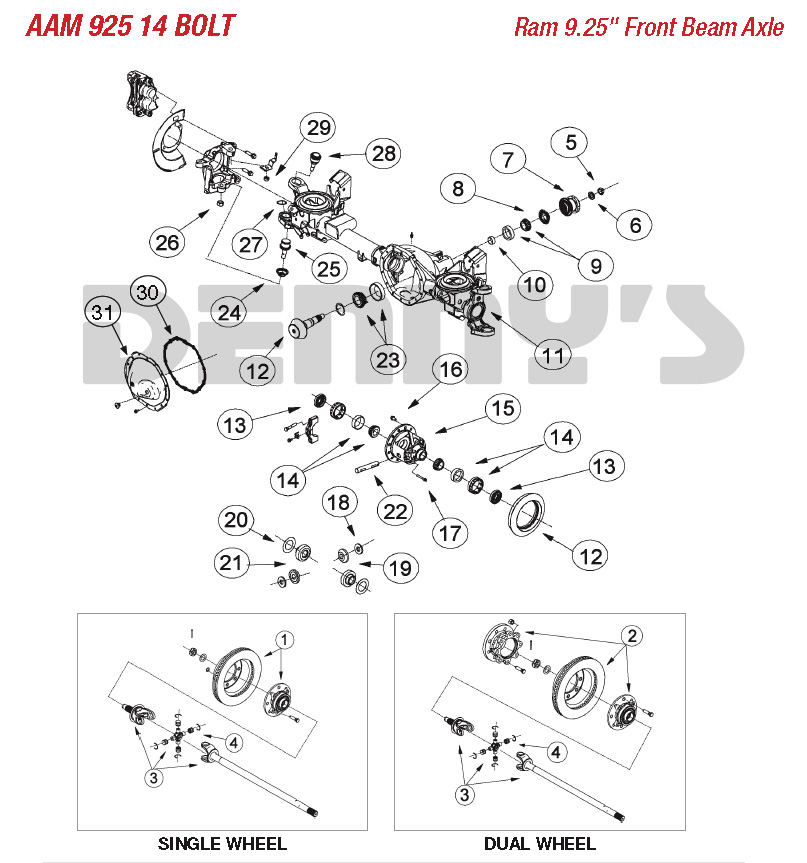 dodge truck parts diagram trailer electrical wiring south africa aam american axle 9 25 inch front for 14 bolt 2003 and newer ram