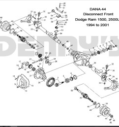 denny s driveshafts exploded view 1999 to 2001 dodge ram 1500 2500ld with dana 44 disconnect [ 988 x 924 Pixel ]