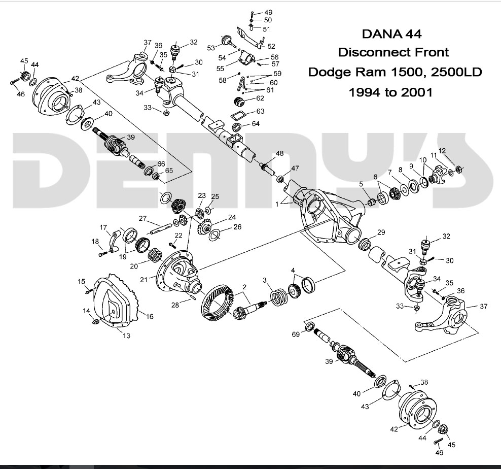 medium resolution of denny s driveshafts exploded view 1999 to 2001 dodge ram 1500 2500ld with dana 44 disconnect