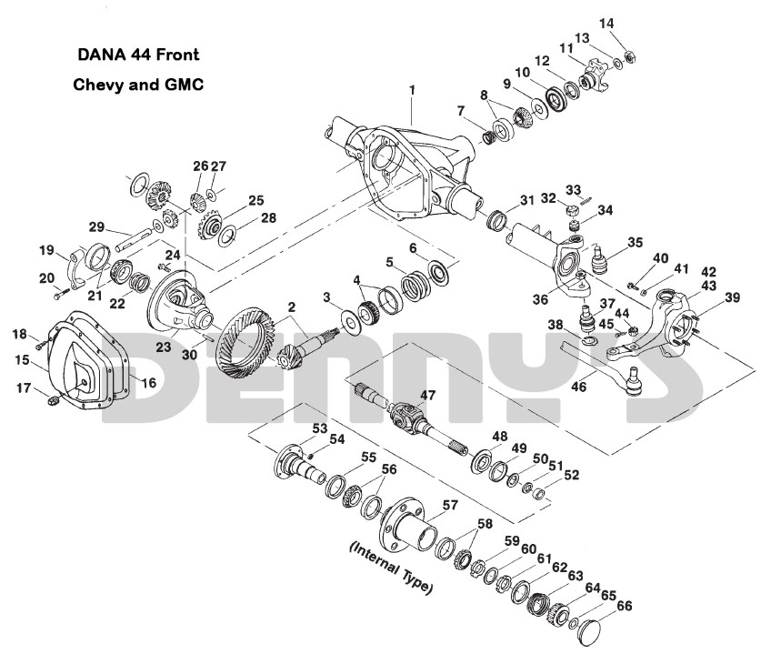 ford dana 44 front axle diagram