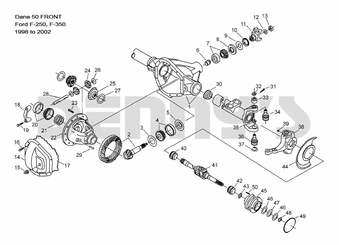 hight resolution of dana 50 front ford f250 f350 1999 to 2002 f350 parts diagram