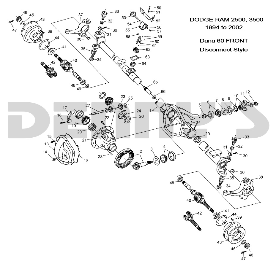 hight resolution of dana 60 disconnect front exploded view 1994 to 2002 ram 2500 3500