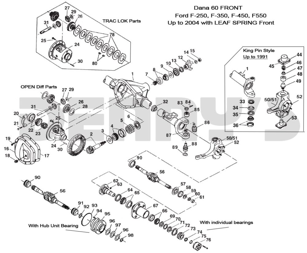 medium resolution of ford dana 60 front exploded view