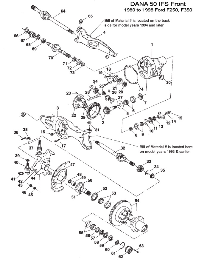 Ford Dana 44 Front Axle Exploded View chevy dana 44 front