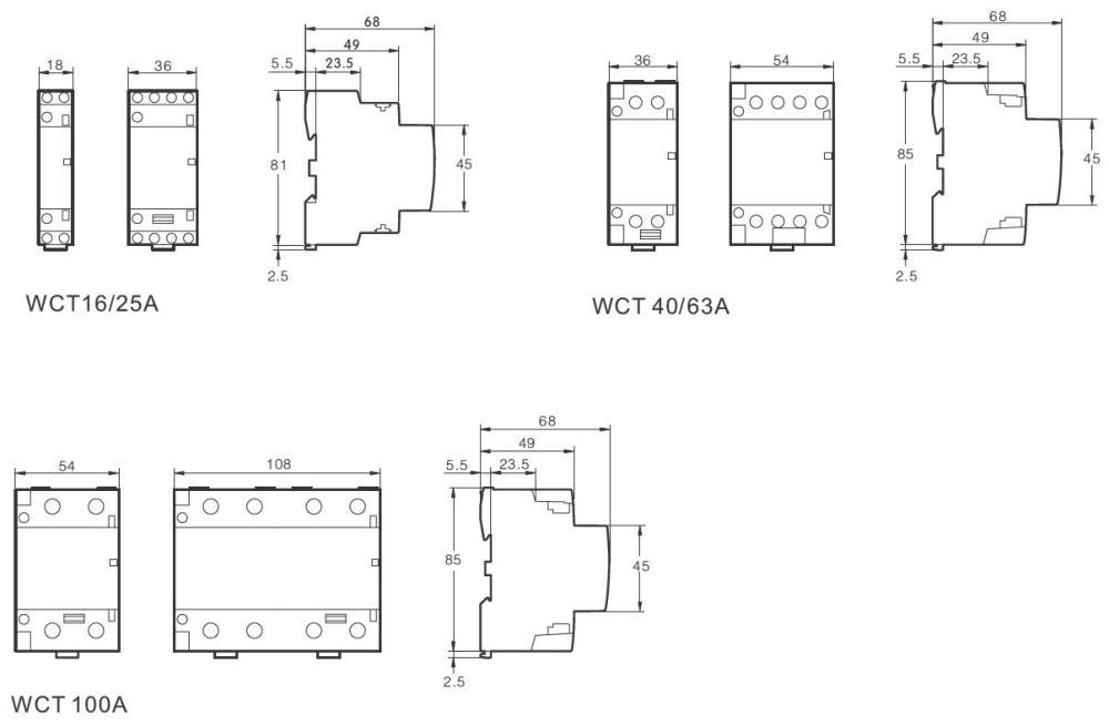 medium resolution of dimensions of modular contactors wct