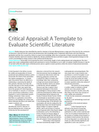 Dental Update Archive Article Critical Appraisal A Template To