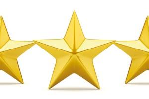 Five star rating - shiny golden stars